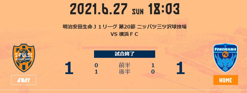 横浜FCにドロー